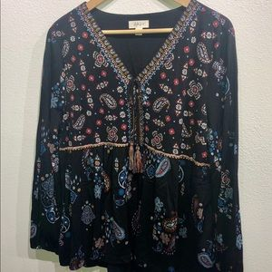 Style & Co Paisley Peasant Blouse